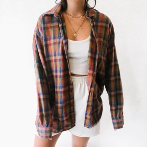 Vintage Oversized Button Up Flannel Fall
